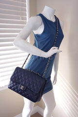 Chanel Navy Blue Caviar Jumbo 2.55 Classic Flap Bag - Boutique Patina  - 15