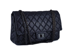 Chanel So Black 12in. 227 Reissue 2.55 Jumbo Classic Double Flap Bag - Boutique Patina  - 2