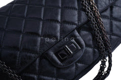 Chanel So Black 12in. 227 Reissue 2.55 Jumbo Classic Double Flap Bag - Boutique Patina  - 8