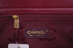Chanel Red Caviar Logo 2-Way Executive Tote Bag