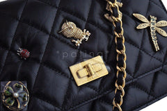NWT 17P Chanel Black Lucky Charms Reissue WOC Wallet on Chain Bag
