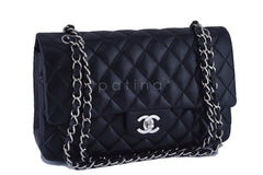 Chanel Black Lambskin Medium-Large Classic 2.55 Double Flap Bag, SHW