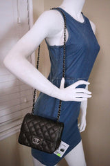 NWT 17S Chanel Charcoal Gray Classic Quilted Square Mini 2.55 Flap Bag