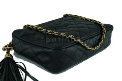 Chanel Vintage Black Caviar Classic Quilted Camera Case w Pocket Bag