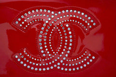 Chanel Cherry Red Patent Strass Crystals WOC Wallet on Chain Purse Bag