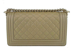 NWT 17S Chanel Pale Gold Le Boy Classic Flap, Medium Caviar Bag