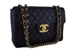 Chanel Black Vintage Jumbo 2.55 Classic Flap Bag 24k gold plated