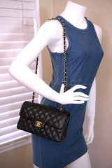 Chanel Black Caviar Medium-Small Classic 2.55 Double Flap 18k Gold Plated Bag