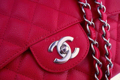 Chanel Berry Red Caviar Jumbo 2.55 Classic Flap Bag SHW