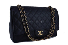 Chanel Black Caviar 13in. Maxi Quilted Classic 2.55 Jumbo XL Double Flap Bag GHW