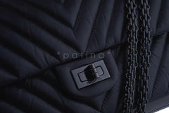 NIB Chanel So Black Chevron 226 Classic Reissue 2.55 Flap Bag AGED CALFSKIN