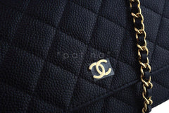 NIB Chanel Black Caviar Classic Quilted WOC Wallet on Chain Flap Bag GHW