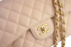 Chanel Beige Clair Caviar Jumbo 2.55 Classic Double Flap Bag GHW