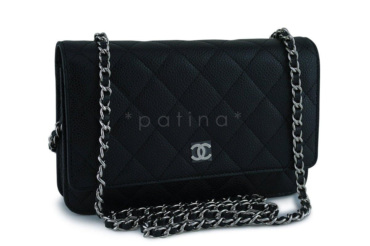 Black Caviar Classic Quilted WOC Wallet on Chain Flap Bag SHW : chanel woc classic quilted bag - Adamdwight.com