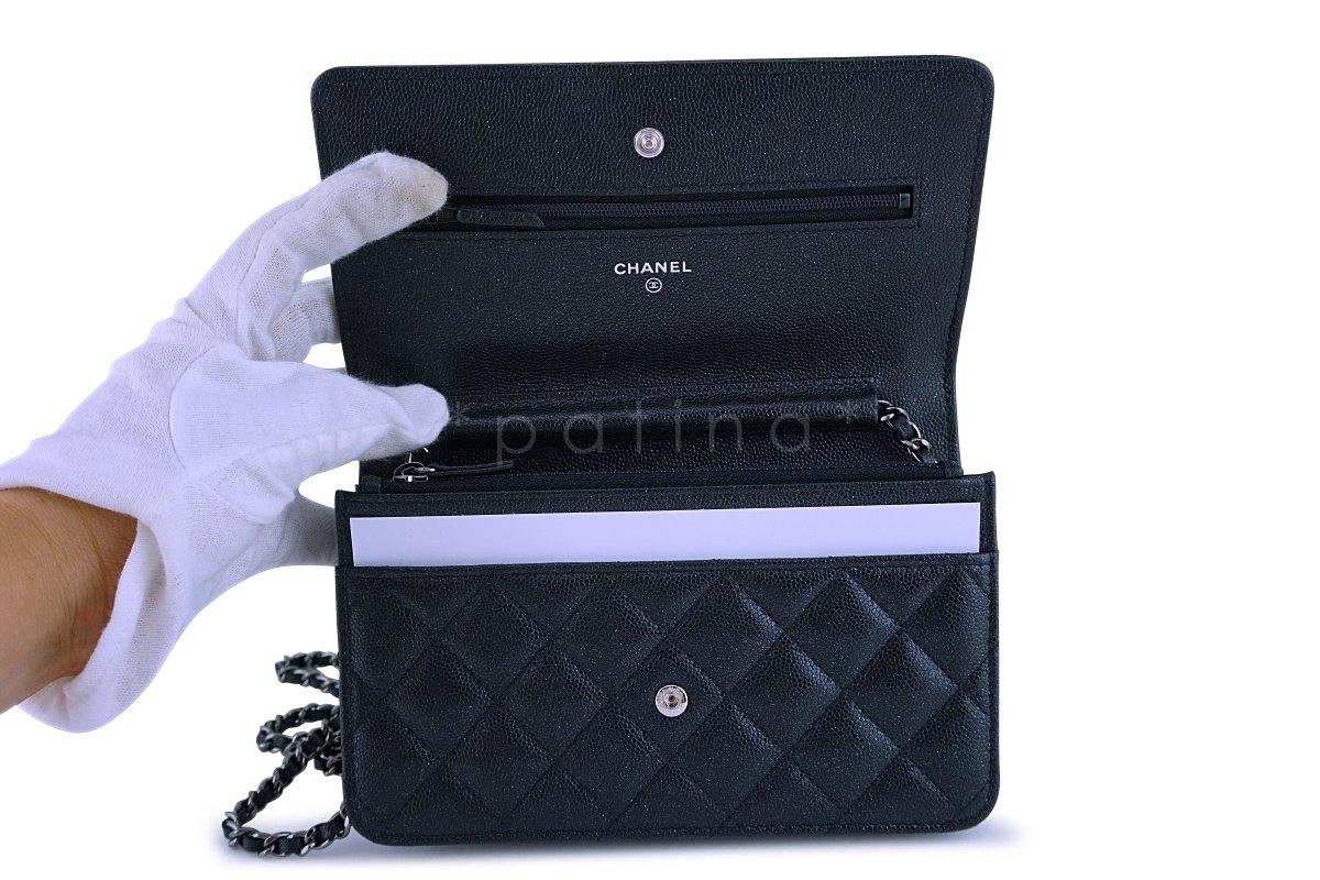 New 18C Chanel Iridescent Black Caviar Quilted WOC Wallet on Chain Fla : chanel quilted woc - Adamdwight.com