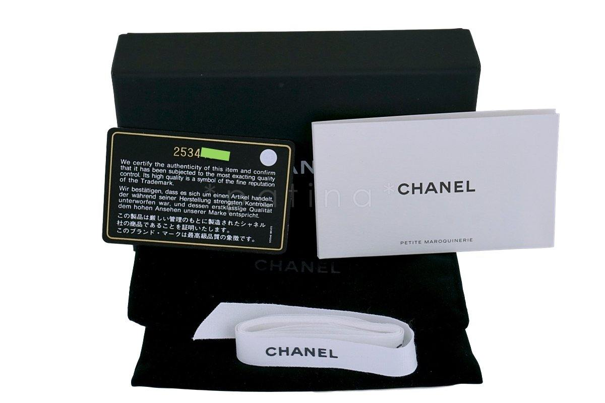 Chanel Black Caviar Compact Flap Snap Card Holder Wallet Case