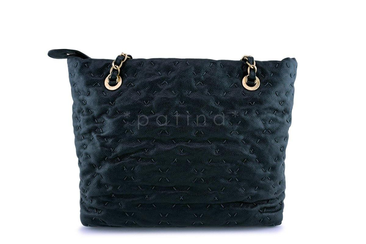879f927307b8 Chanel Dark Blue-Black Quilted Caviar Brushed Gold Charm Tote Bag