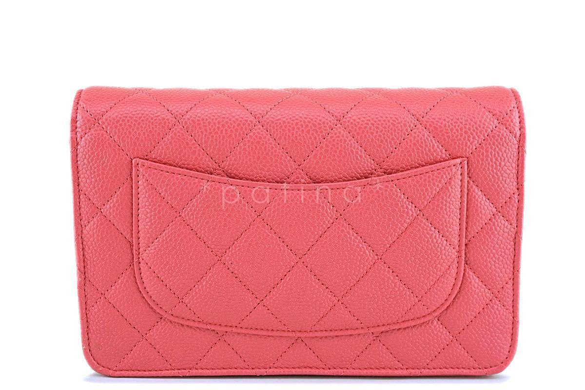 07b07efe5243b ... New 18S Chanel Pink Caviar Classic Quilted WOC Wallet on Chain Flap Bag  GHW ...