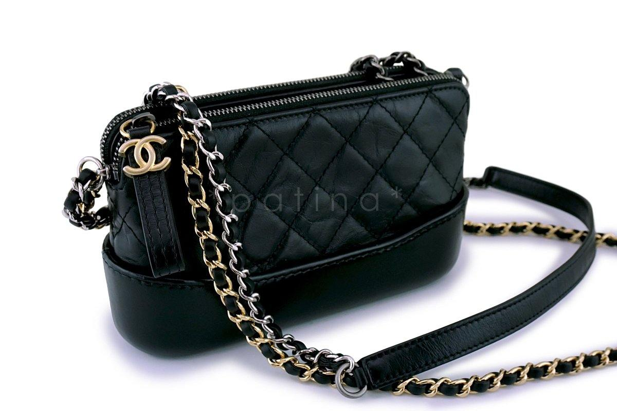 c9d73f943c5346 Chanel Black Gabrielle WOC Double Zip Clutch Wallet on Chain Bag
