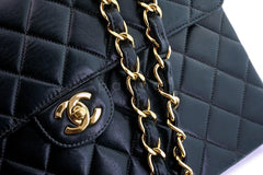 Chanel Black Lambskin Jumbo Classic Quilted Flap Bag 24k GHW