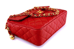 Chanel Vintage Red Caviar Classic Flap Camera Bag 24k GHW