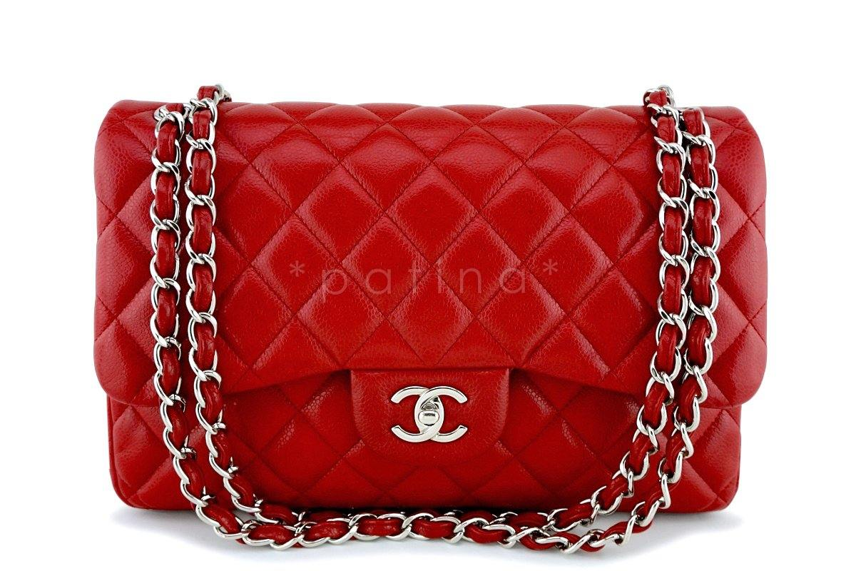 Chanel 11P Red Caviar Jumbo Classic Double Flap Bag SHW