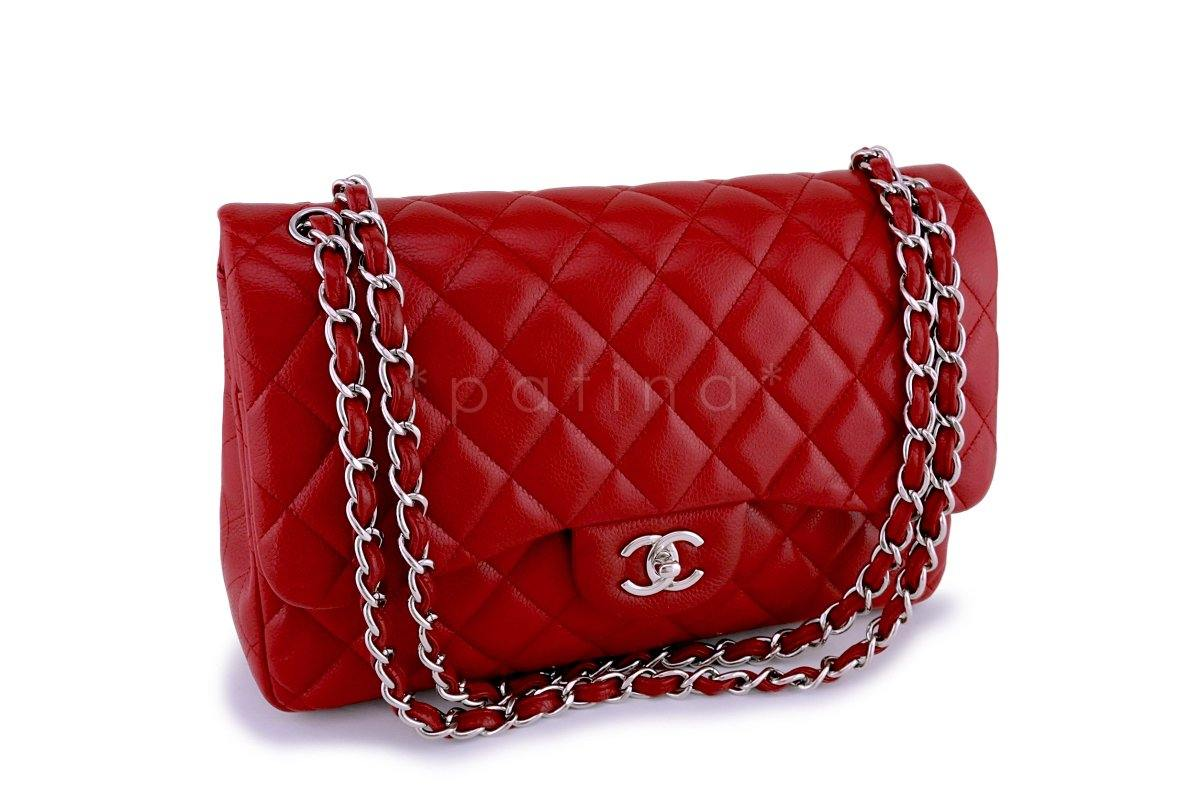 520905ba10d2 Chanel 11P Red Caviar Jumbo Classic Double Flap Bag SHW