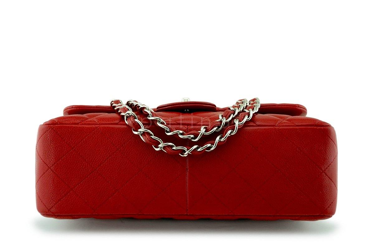 Chanel 11P Red Caviar Jumbo Classic Double Flap Bag SHW 551492106b