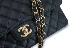 Chanel Black Caviar Classic Medium Double Flap Bag GHW