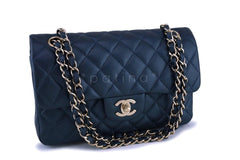 18S Chanel Caviar Iridescent Blue Small Classic Double Flap Bag GHW
