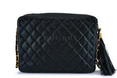 Chanel Vintage Black Caviar Pocket Camera Case Bag 24k GHW