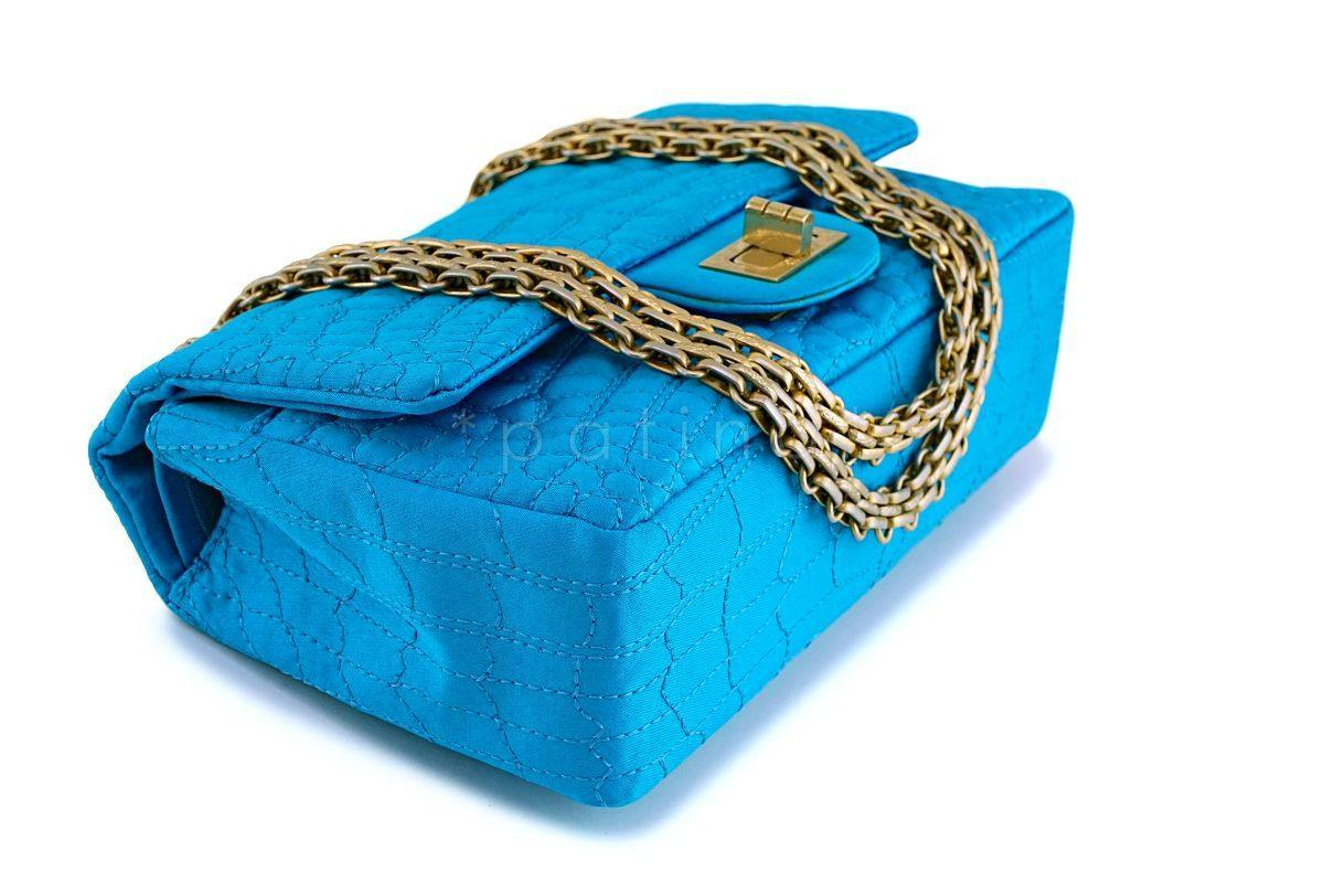 46f9bbea51ab ... Chanel Turquoise Blue Small/Mini Satin 224 Classic 2.55 Reissue Flap Bag  GHW ...