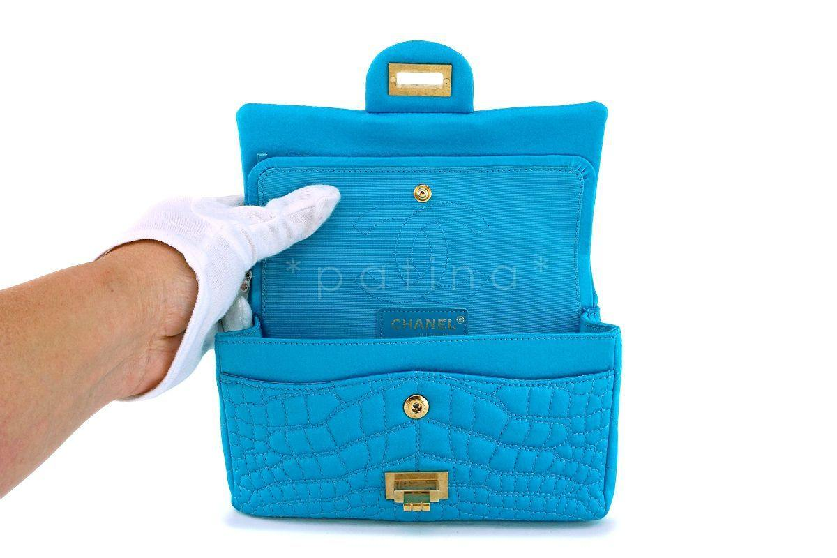 6f89909a48b6 ... Chanel Turquoise Blue Small Mini Satin 224 Classic 2.55 Reissue Flap Bag  GHW ...