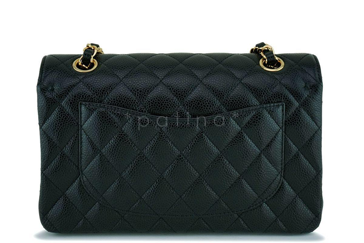 a3b2f828b71b NIB Chanel Black Caviar Small Classic Double Flap Bag GHW