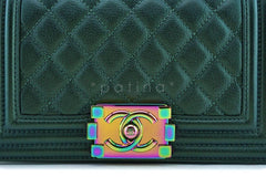 16C Chanel Iridescent Emerald Green Small Boy Classic Flap Bag Rainbow HW