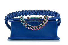 17S Chanel Blue Rainbow Cable Small Boy Iridescent Mermaid Flap Bag