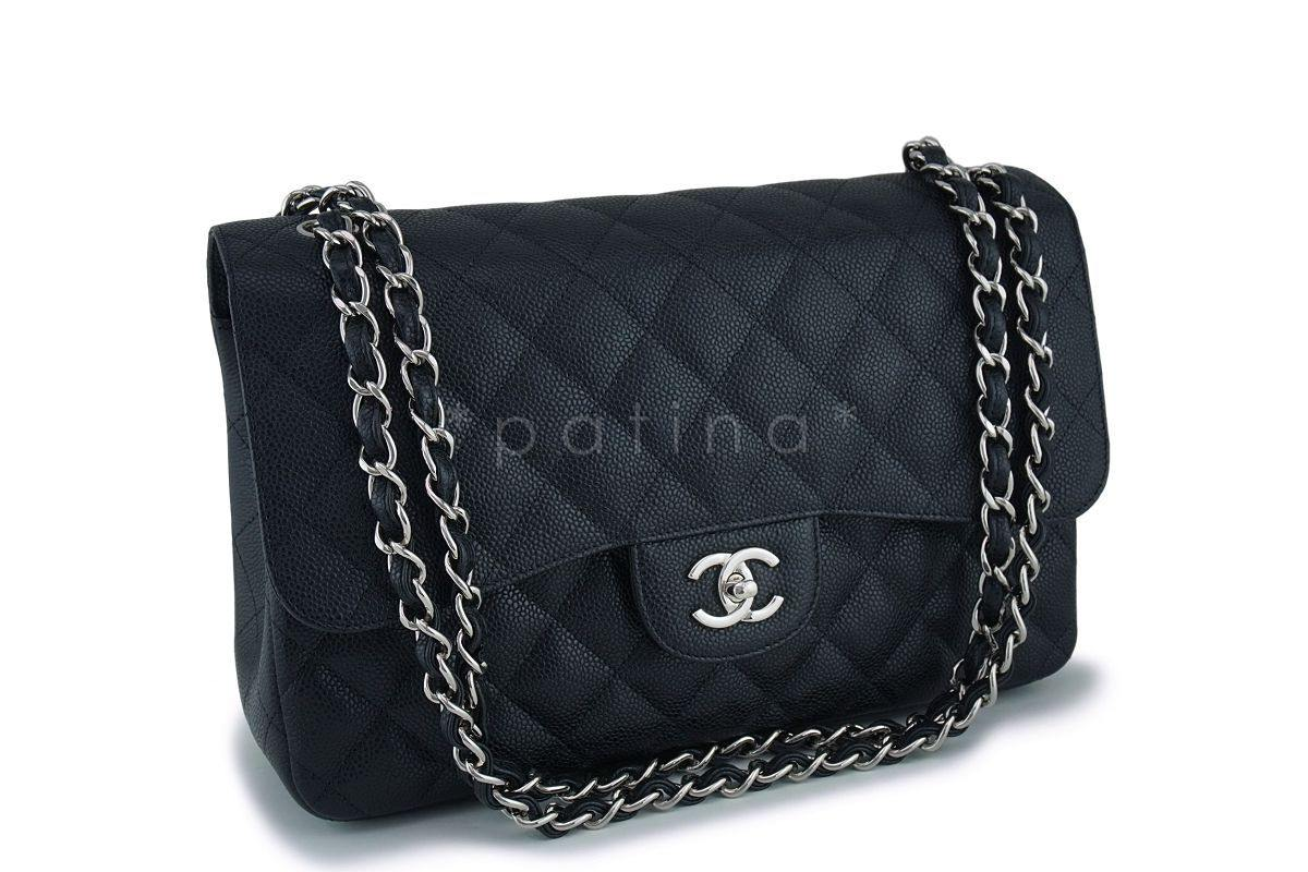 0020d8ee448009 Chanel Black Caviar Jumbo Classic Double Flap Bag SHW