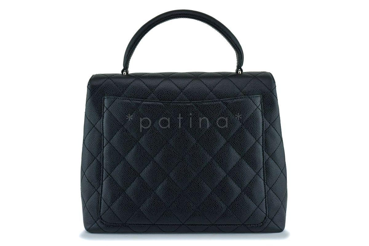 c9ce9ec714f8 Chanel Black Caviar Quilted Classic Kelly Flap Tote Bag SHW