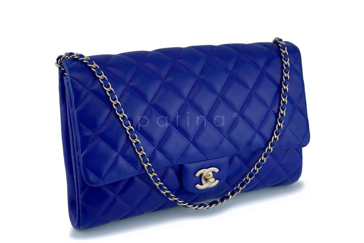 45d9a1990aa5 ... Chanel Electric Blue Roi Quilted Classic Clutch with Chain Flap Bag GHW  ...