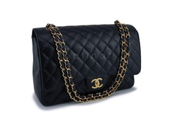 Chanel Black Caviar Maxi Classic Double Flap Bag GHW