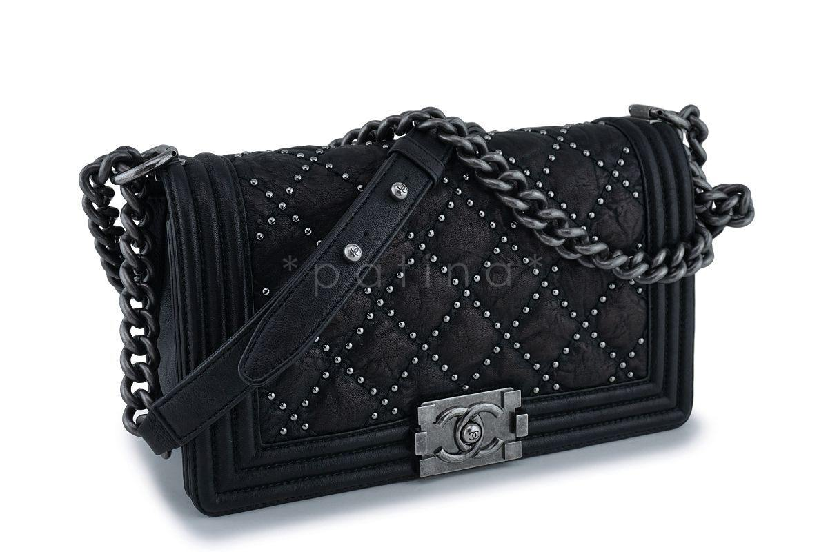 05def5d3a326 Chanel Black Crumpled Calf Studded Medium Classic Boy Flap Bag RHW