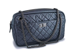 Chanel Dark Gray Silver Metallic Reissue Classic Camera Case Bag RHW