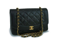 Chanel Vintage Black Medium Classic Diana Flap Bag 24k GHW