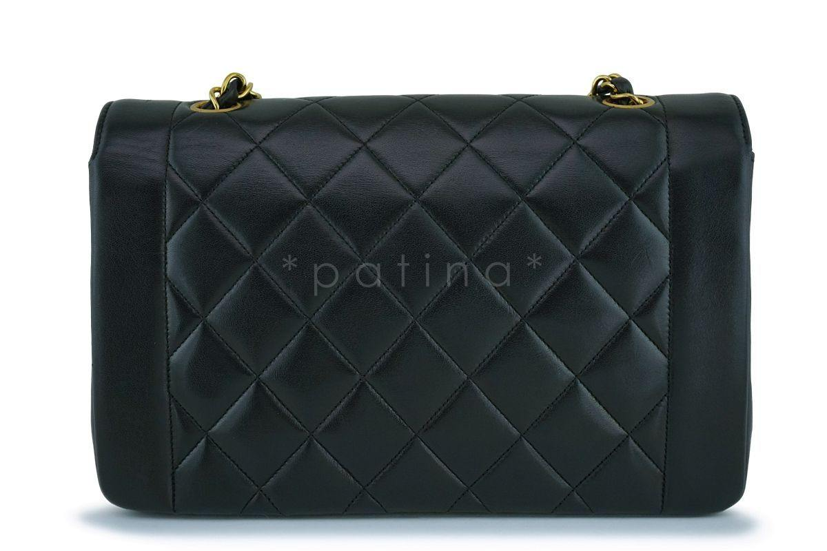 3aa36c18c6f Chanel Vintage Black Medium Classic Diana Flap Bag 24k GHW