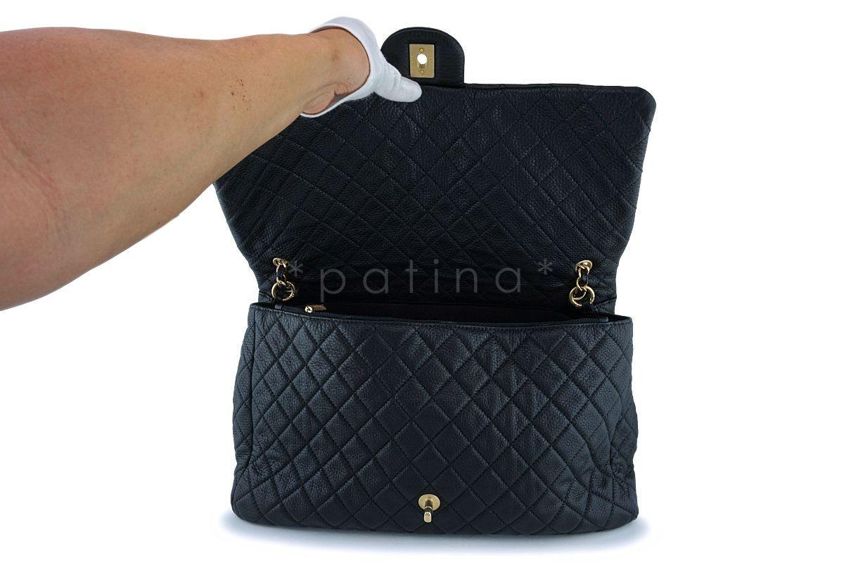7dc7a6589530 Chanel Black Ltd Airlines Runway Travel XXL Classic Flap Bag GHW