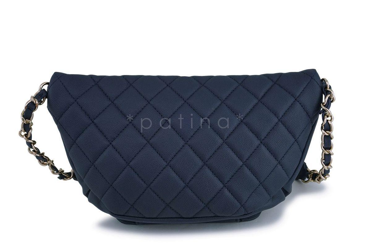 9d310d7aada1 ... NIB 19P Chanel Blue Caviar Business Affinity Fanny Pack Waist Belt Bag  GHW ...