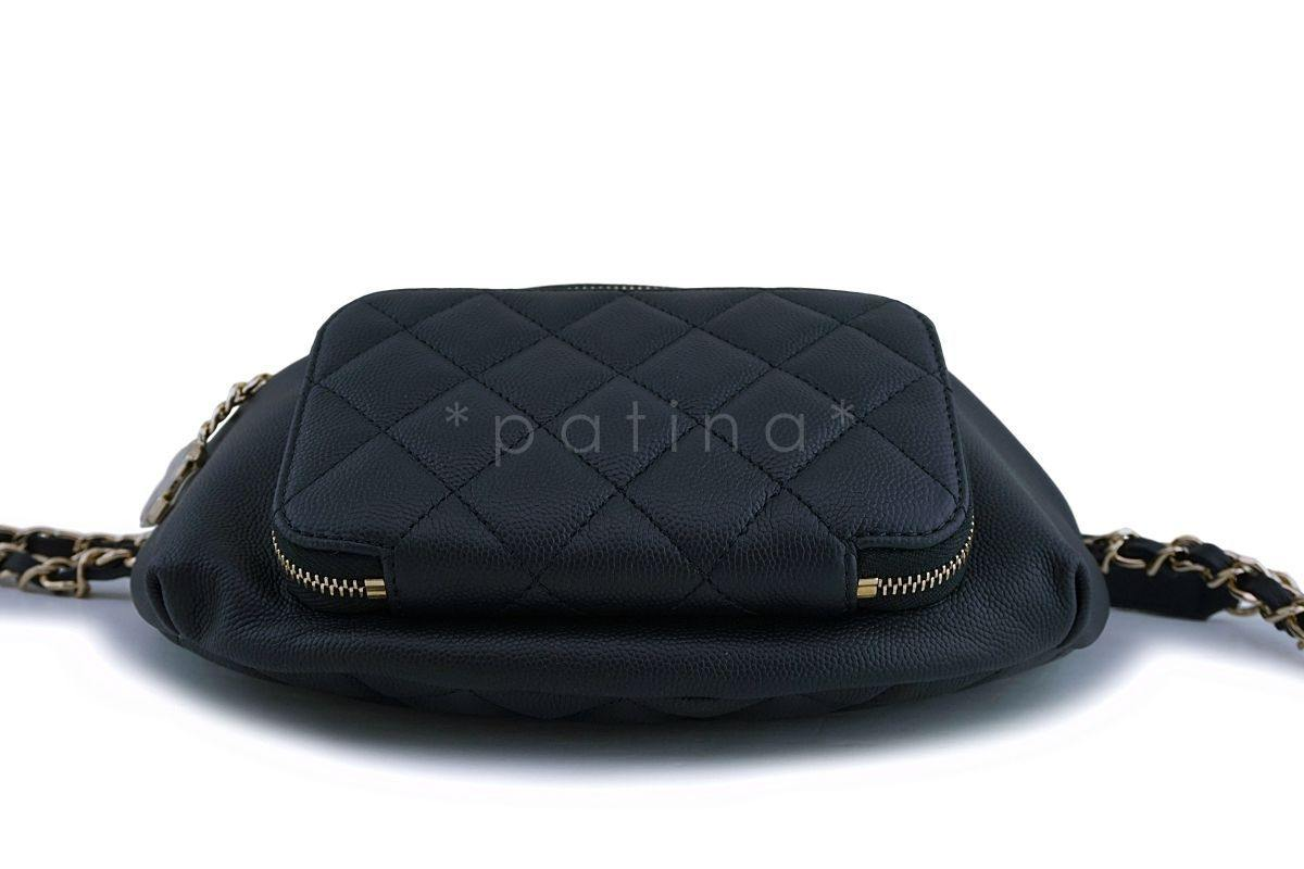 9f0b8e69ed62 ... NIB 19P Chanel Black Caviar Business Affinity Fanny Pack Belt Waist Bag  GHW ...