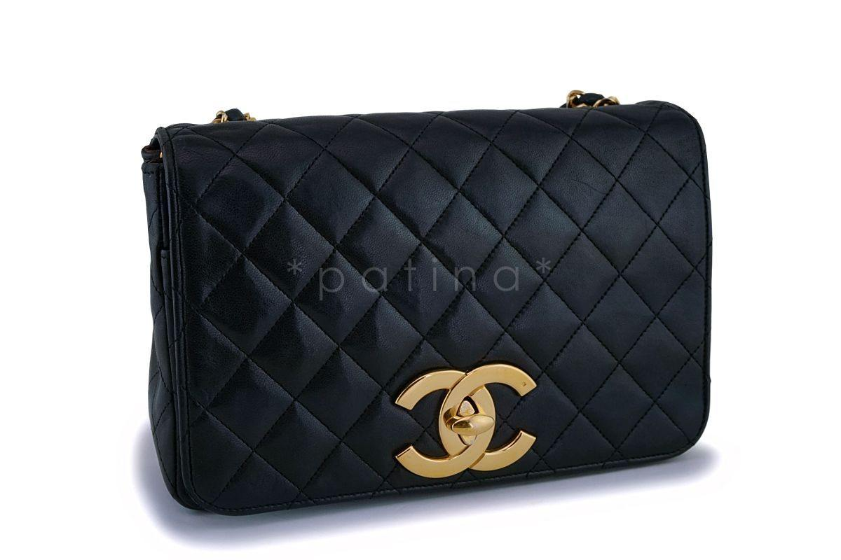 36fa28fecb7f Chanel Vintage Black Lambskin Big CC Small Classic Flap Bag 24k GHW