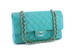 NIB 19S Chanel Iridescent Turquoise Green Medium Classic Double Flap Bag GHW