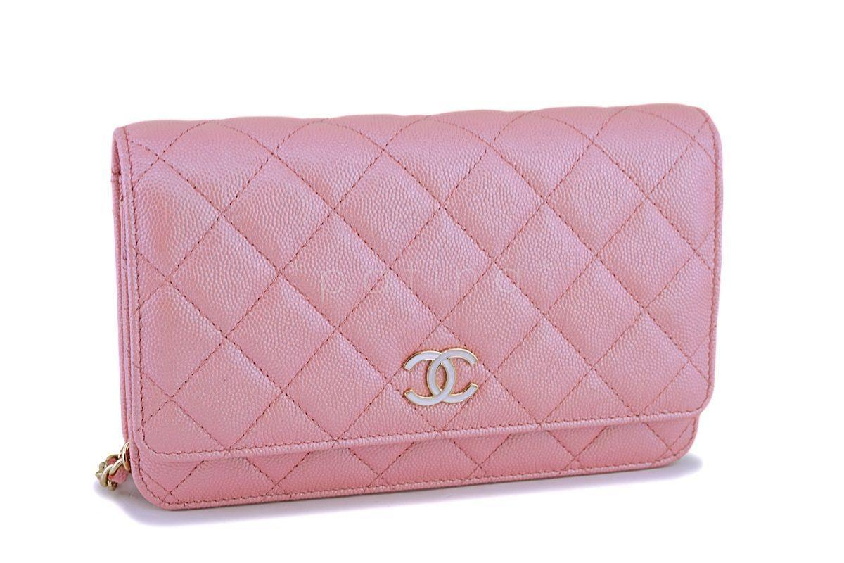 c1ed6477 NIB 19S Chanel Iridescent Pink Caviar Classic Wallet on Chain Pearly CC WOC  Bag